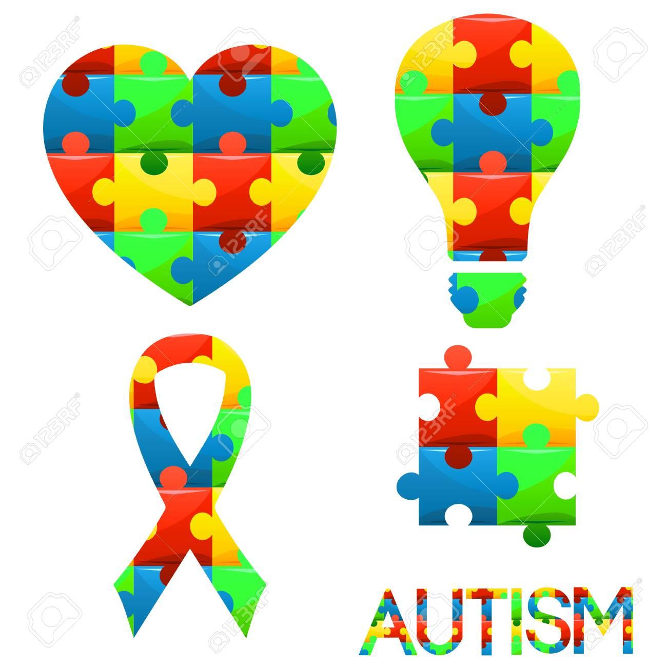 World autism awareness symbols set heart ribbonlight bulb world autism awareness symbols set heart ribbonlight bulb and puzzle pieces in biocorpaavc Gallery