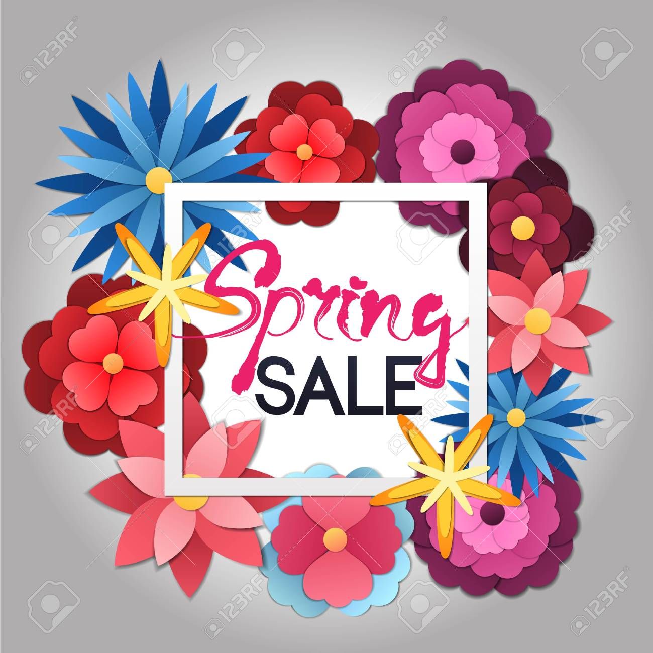Spring Sale Vector Banner Design With Colorful Flowers In Paper