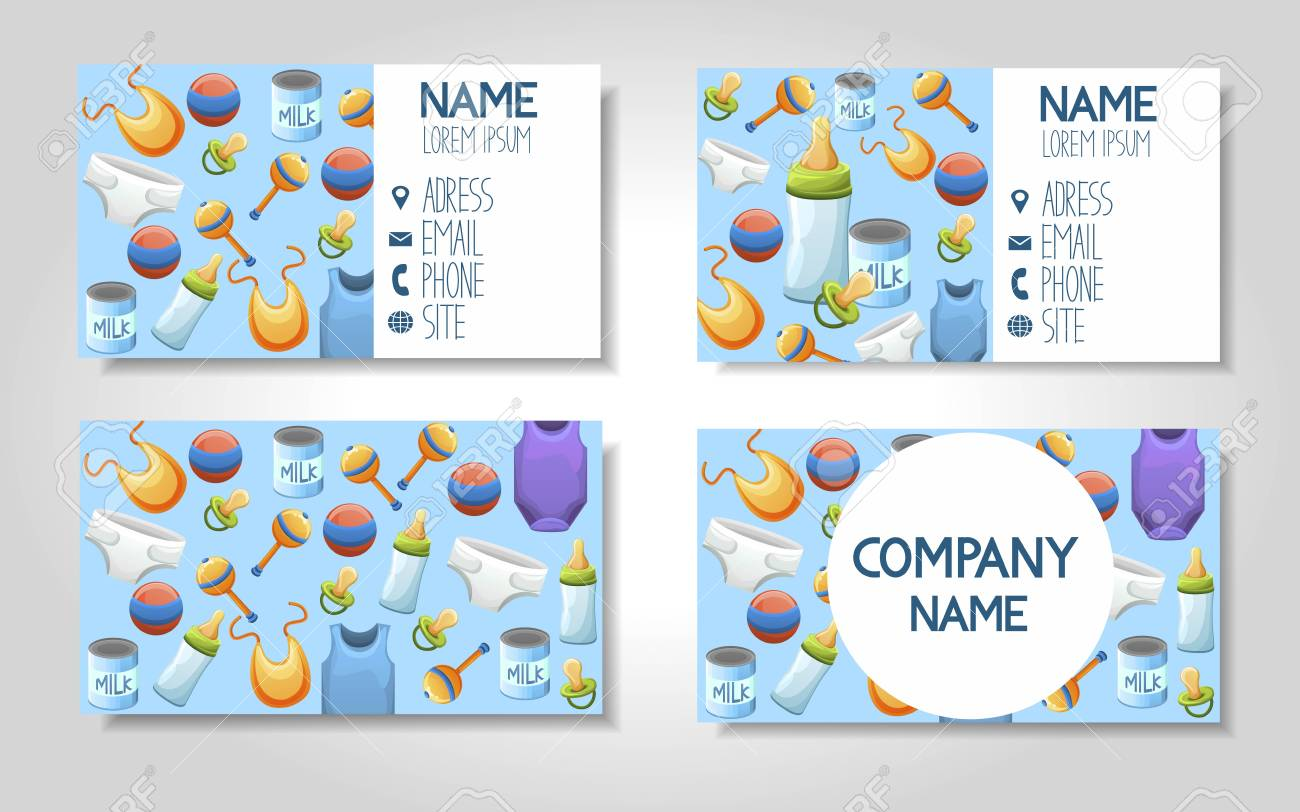 Modern Colorful Business Card Template Set With Baby Care Food