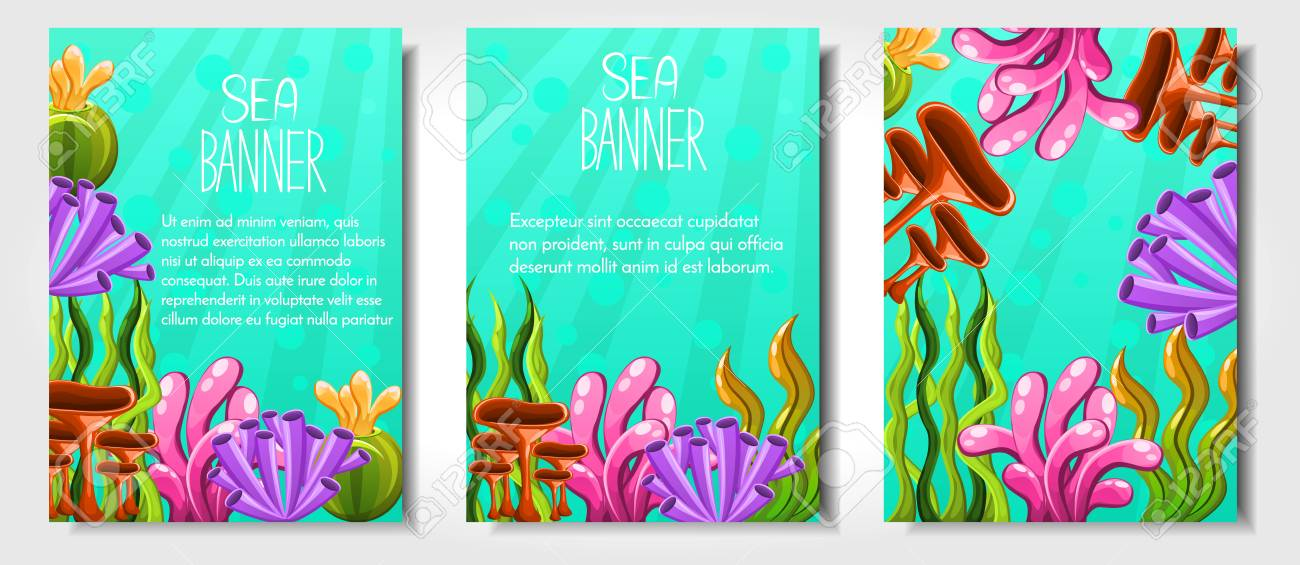 Set Of Different Banners With Plants And Aquatic Marine Algae ...
