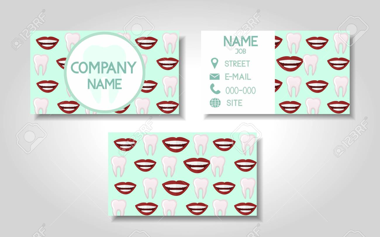 Vector Modern Colorful Business Card Template Set For Stomatology ...