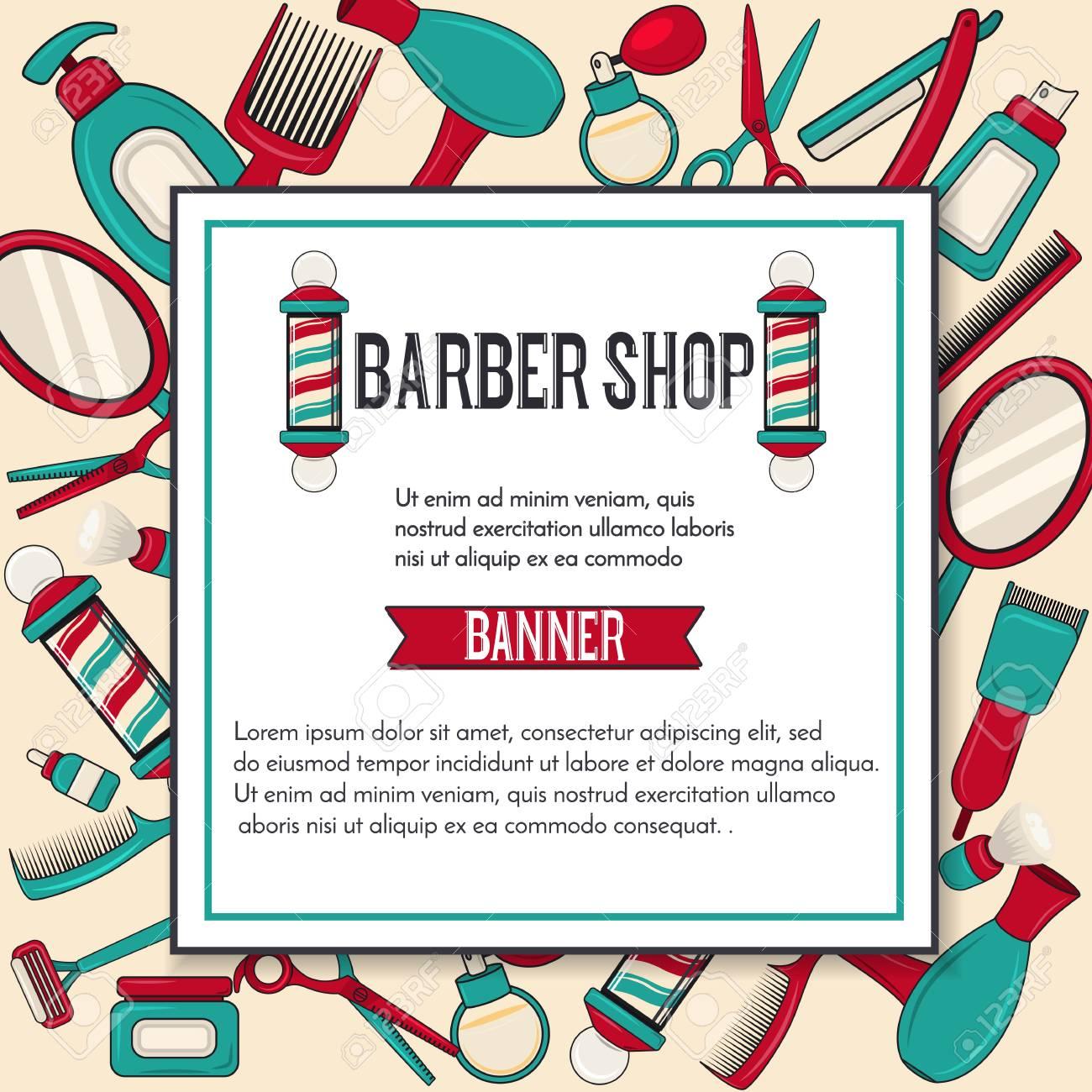 Vintage Barbershop Vector Banner Design With Man Brooming Equipments Mirror Scissors Barber Pole