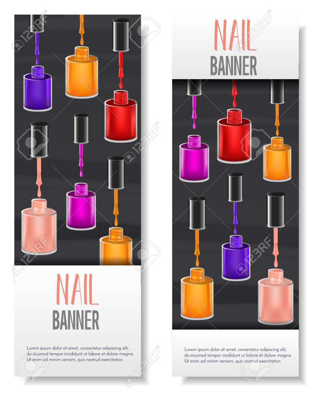 Set Of 2 Vertical Banner Design With Realistic Mesh Gradient
