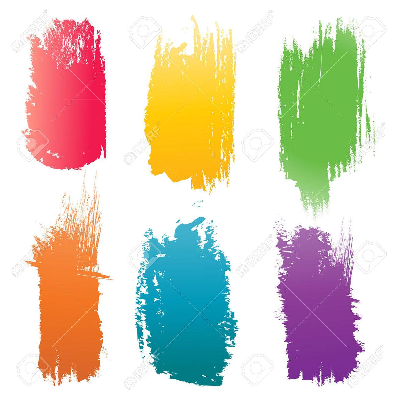 set of vector color brush strokes royalty free cliparts vectors