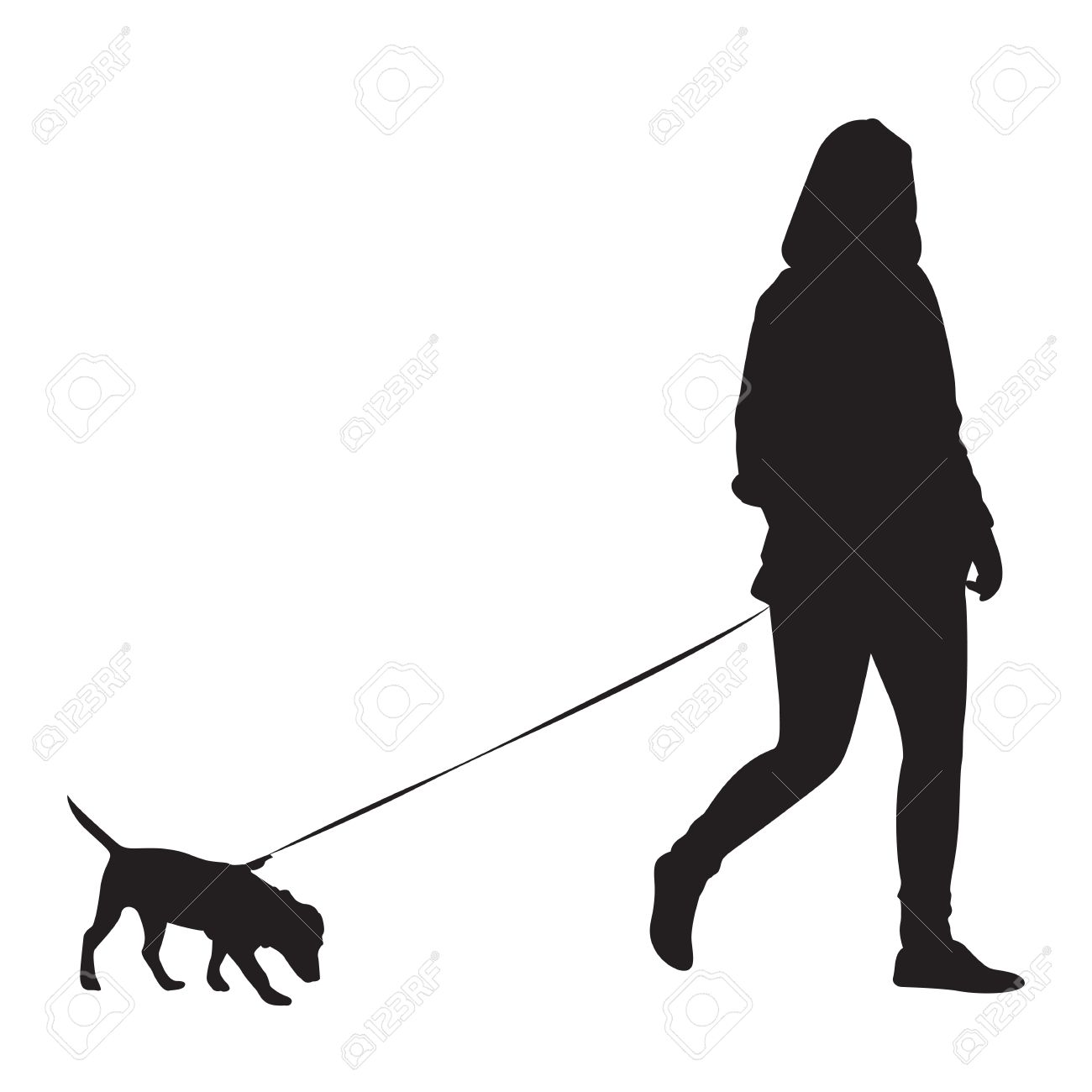 girl walking with dog silhouette royalty free cliparts vectors