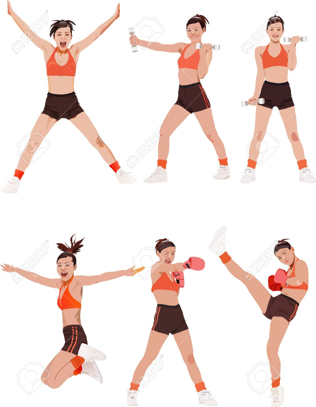Woman fitness colored vector illustrations collection - 10815372