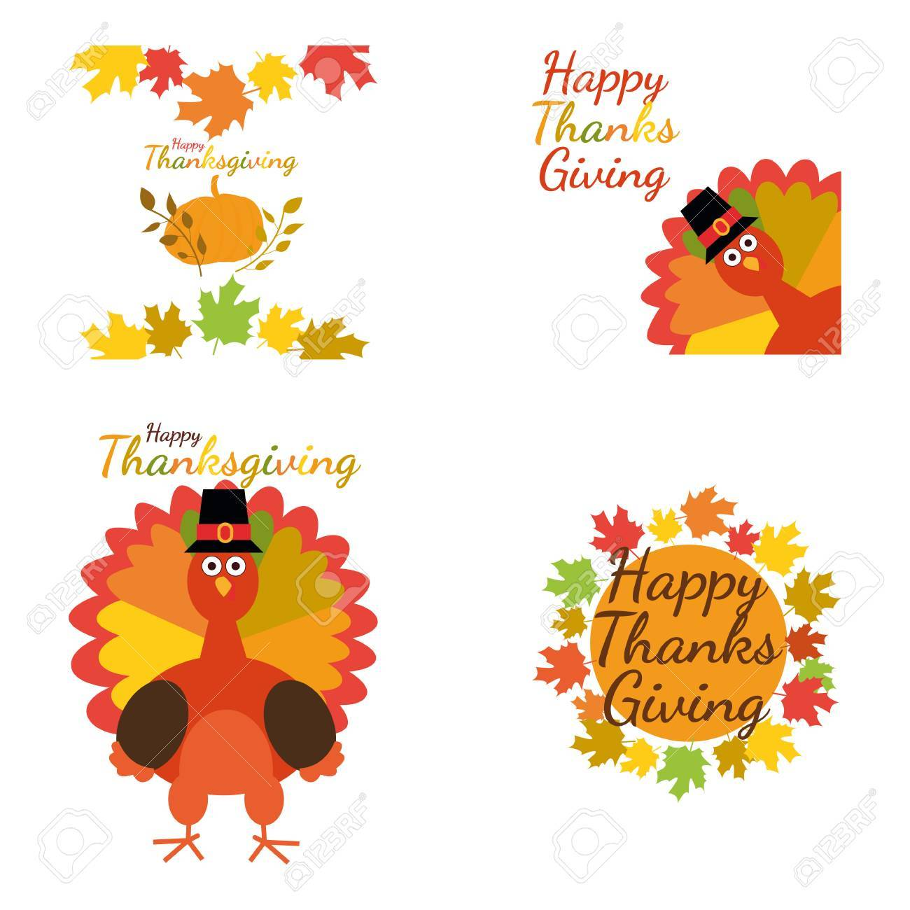 Happy Thanksgiving Set Greeting Card With Funny Cartoon Turkey
