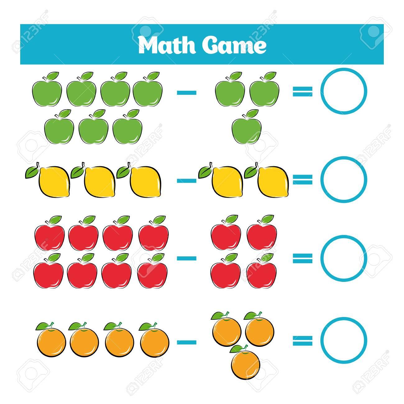 Juego Educativo Matemático Para Niños. Hoja De Trabajo De Resta De ...