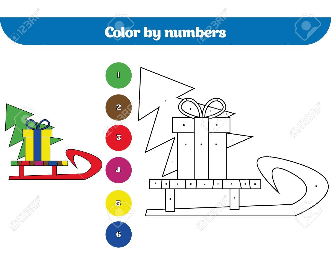 Color Por Número Juego De Educación Para Niños Dibujo Para Colorear Dibujando La Actividad De Los Niños Diseño De Las Fiestas De Navidad Y Año