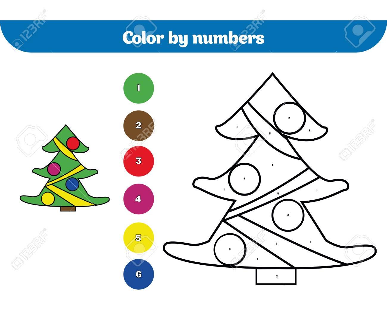 Farbe Nach Nummer, Bildungsspiel Für Kinder. Malvorlage, Zeichnung ...