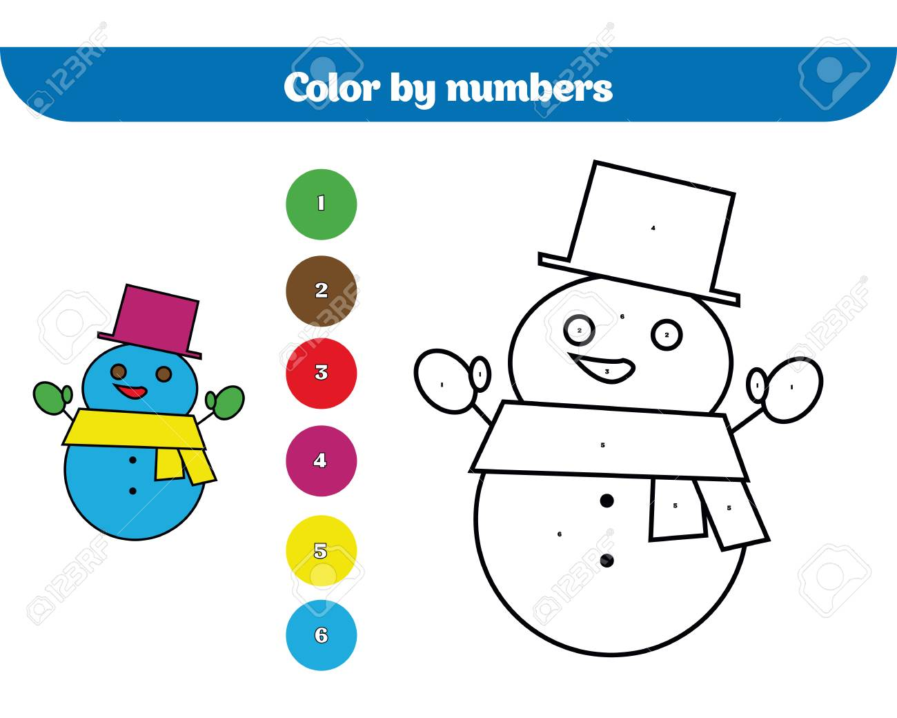 Color By Number Education Game For Children Coloring Page Drawing Kids Activity Christmas