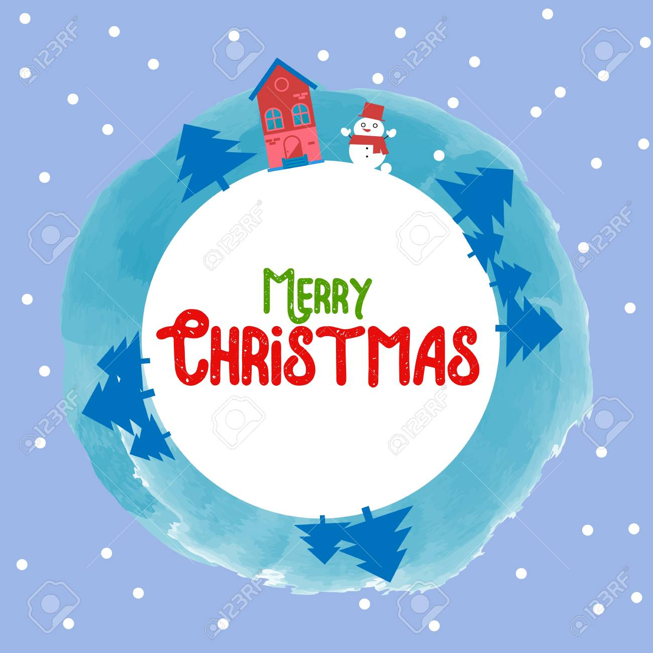 Merry Christmas Happy New Year 2018 Winter Greeting Card Background With Cute Snowman And Fir Trees