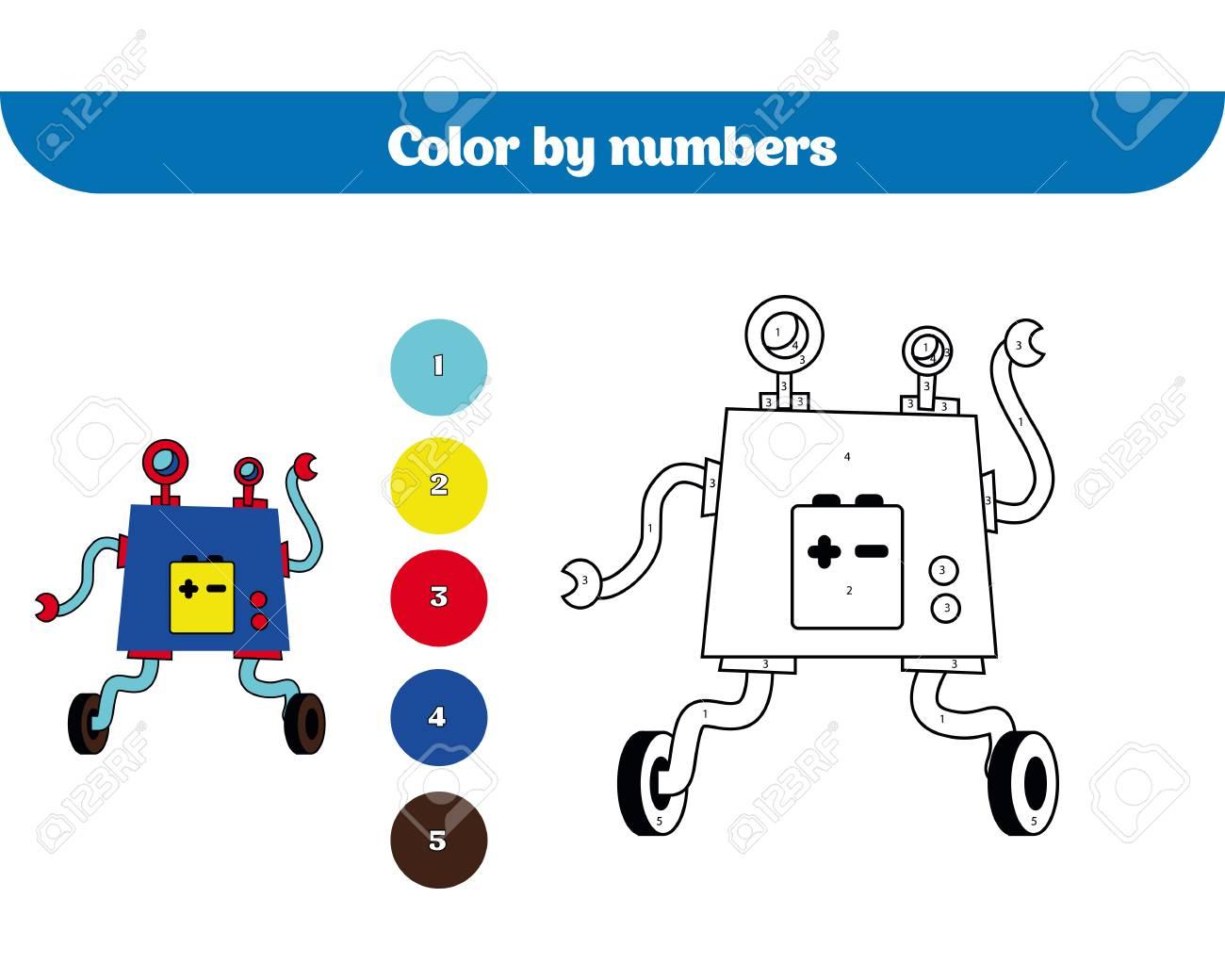 Farbe Nach Nummer, Bildungsspiel Für Kinder. Malvorlage ...