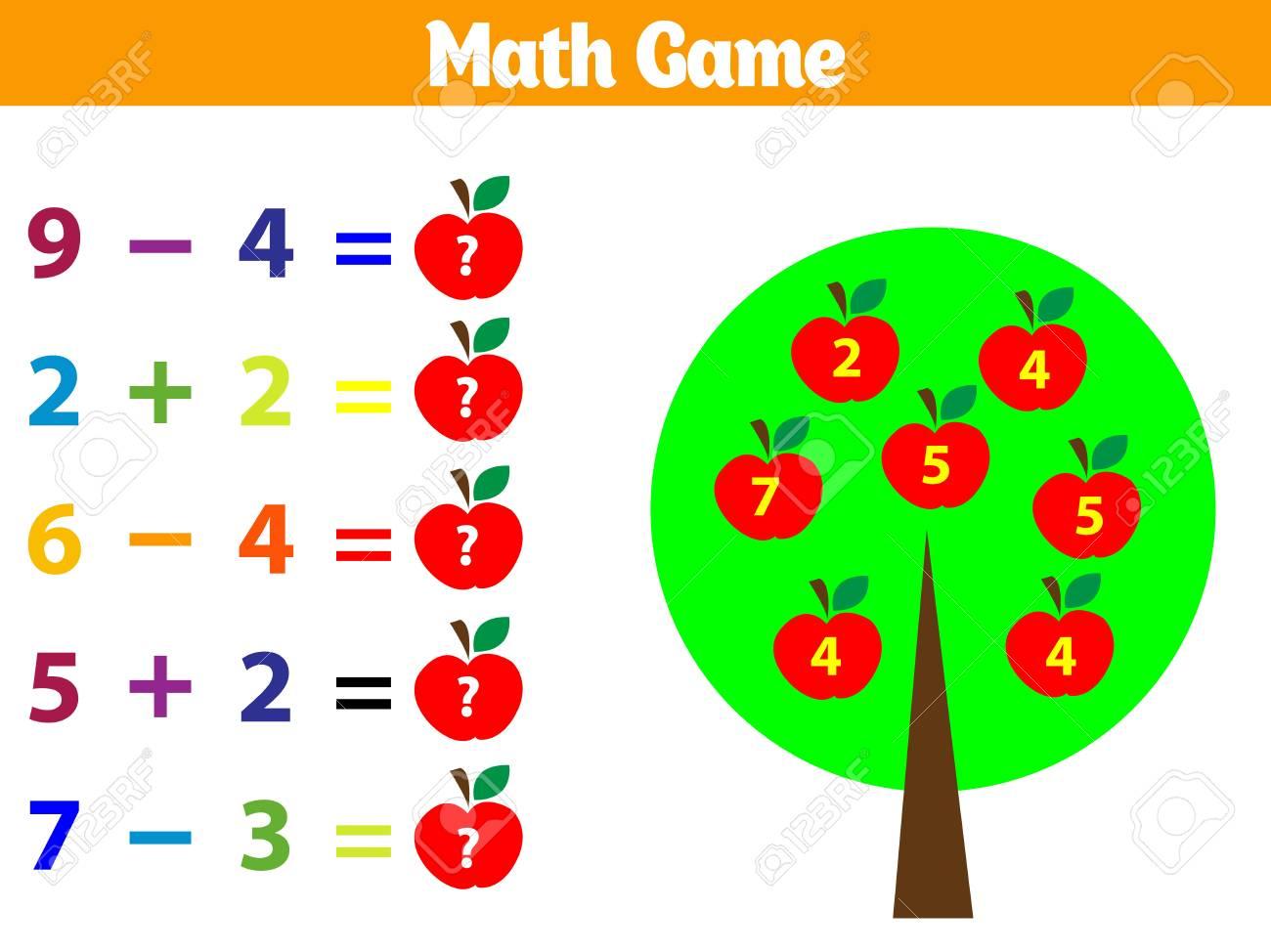 Mathematics educational game for children. Vector illustration. - 127128967