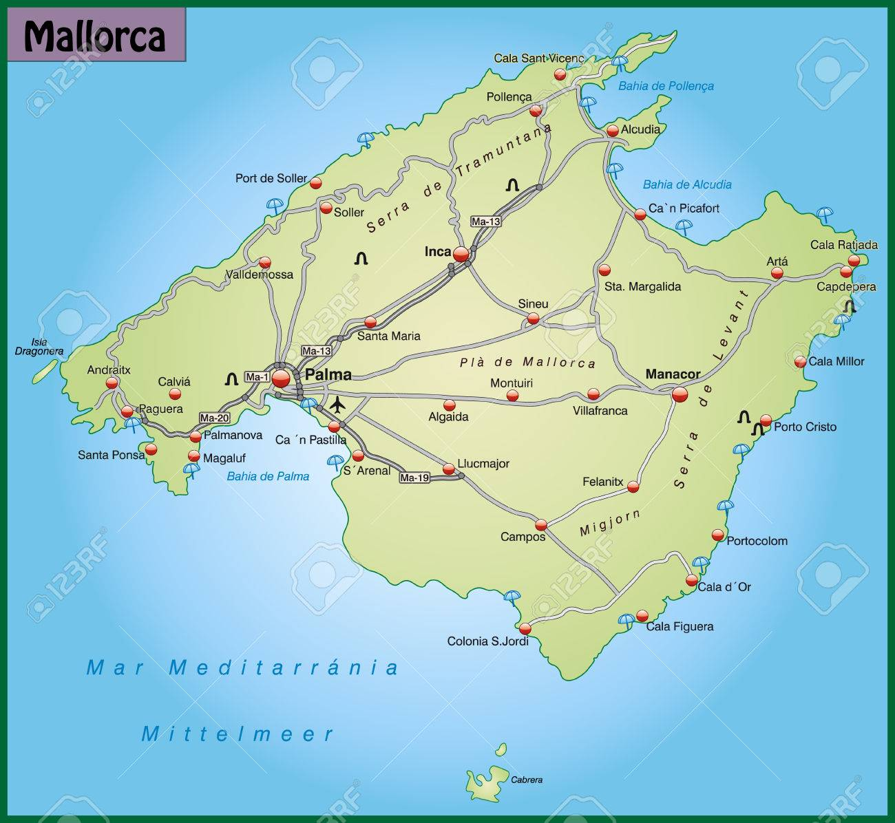 Karte Von Mallorca Mit Autobahnen In Pastellgrun Lizenzfrei