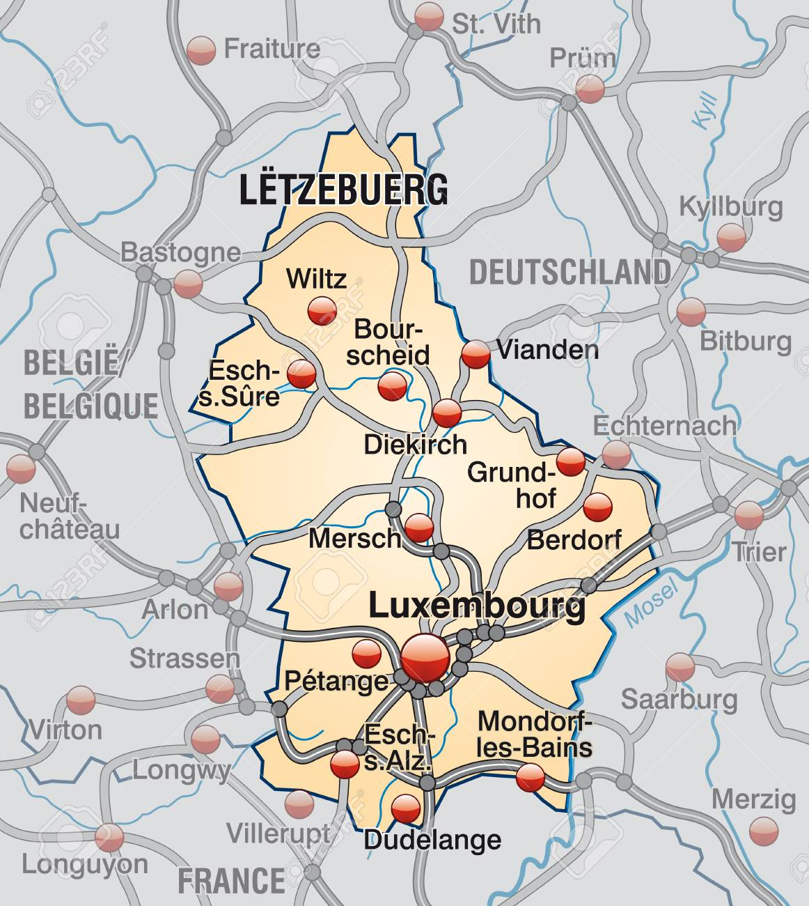 Map Of Luxembourg With Highways In Pastel Orange Royalty Free ...