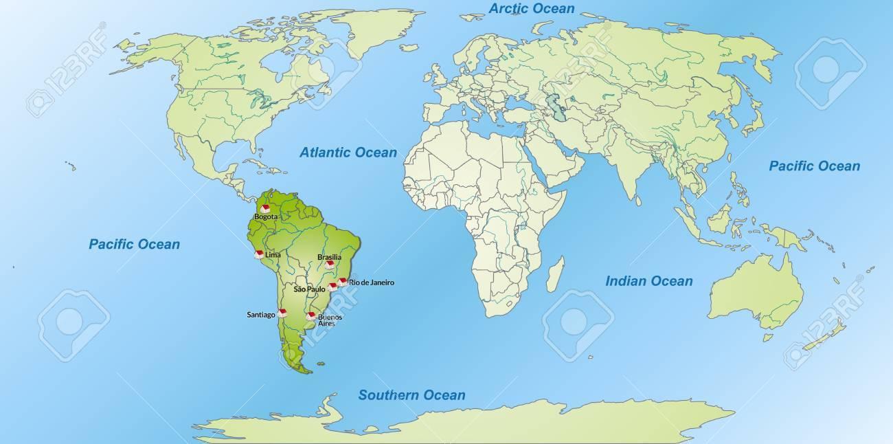 Carte Amerique Du Sud Avec Grandes Villes.Carte De L Amerique Du Sud Avec Les Grandes Villes En Vert