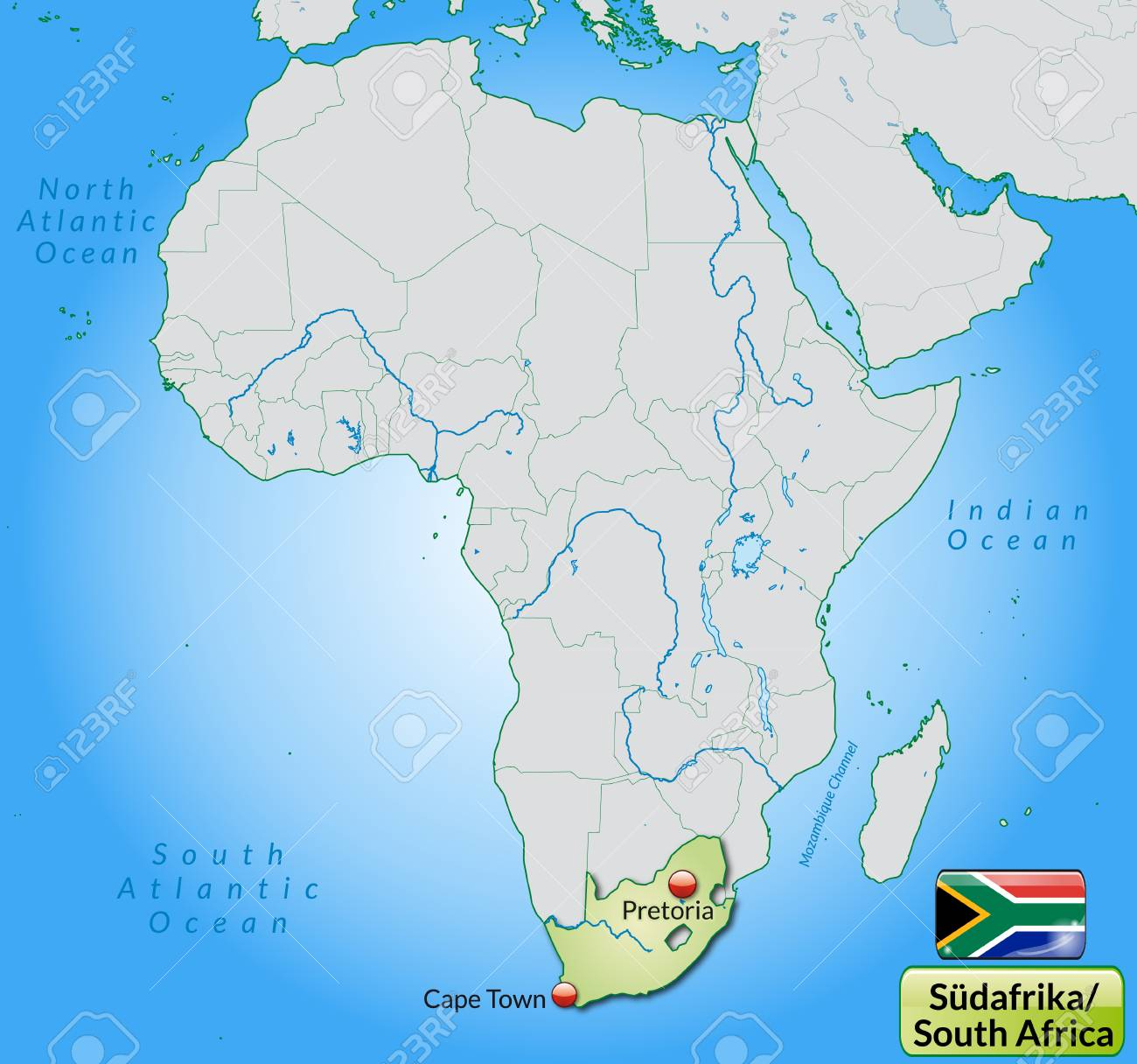Map Of South Africa With Main Cities In Pastel Green Royalty Free - Map of south africa with cities