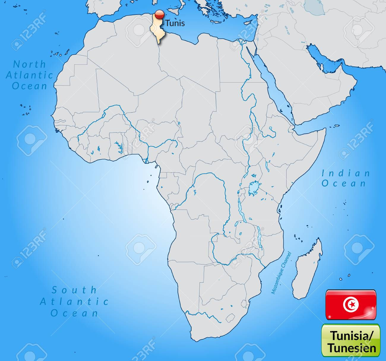 Map Of Tunisia With Main Cities In Pastel Orange Royalty Free ...