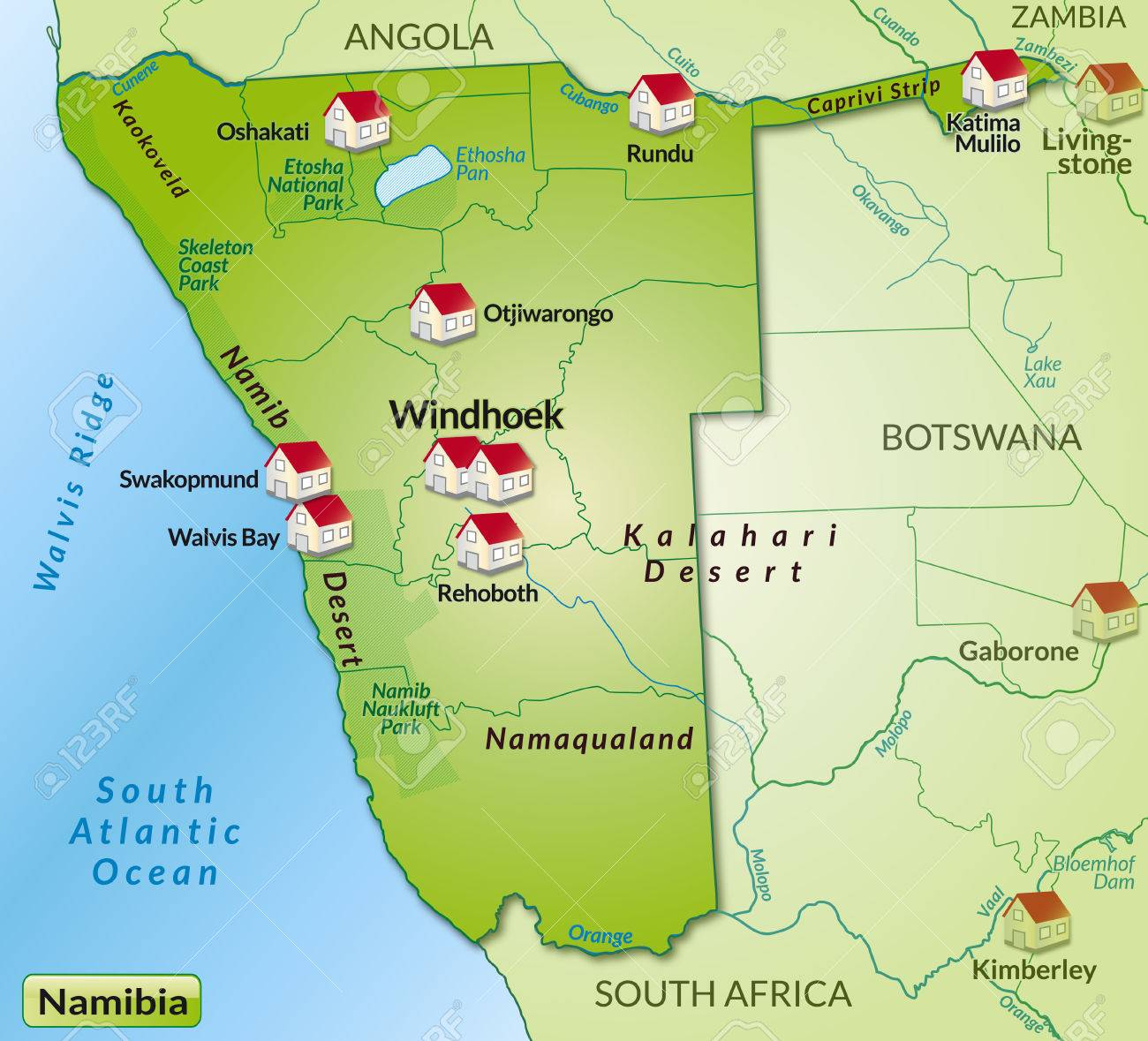 Namibia Map Latitude And Longitude Map Namibia Driving Route And - Namibia map
