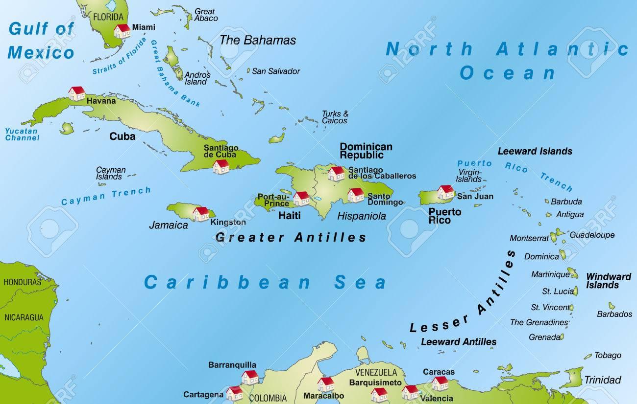 antillen karte Karte Der Antillen Als Infografik In Grün Lizenzfrei Nutzbare  antillen karte