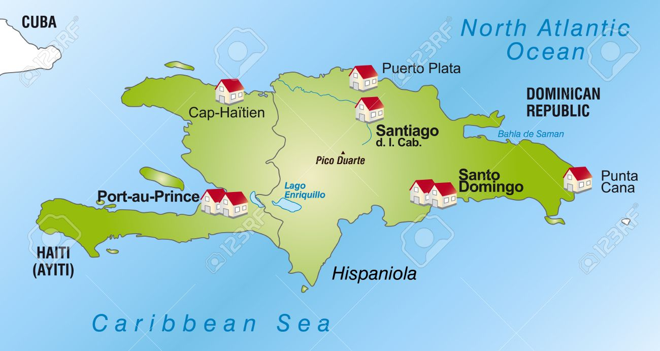 map of hispaniola as an infographic in green royalty free cliparts