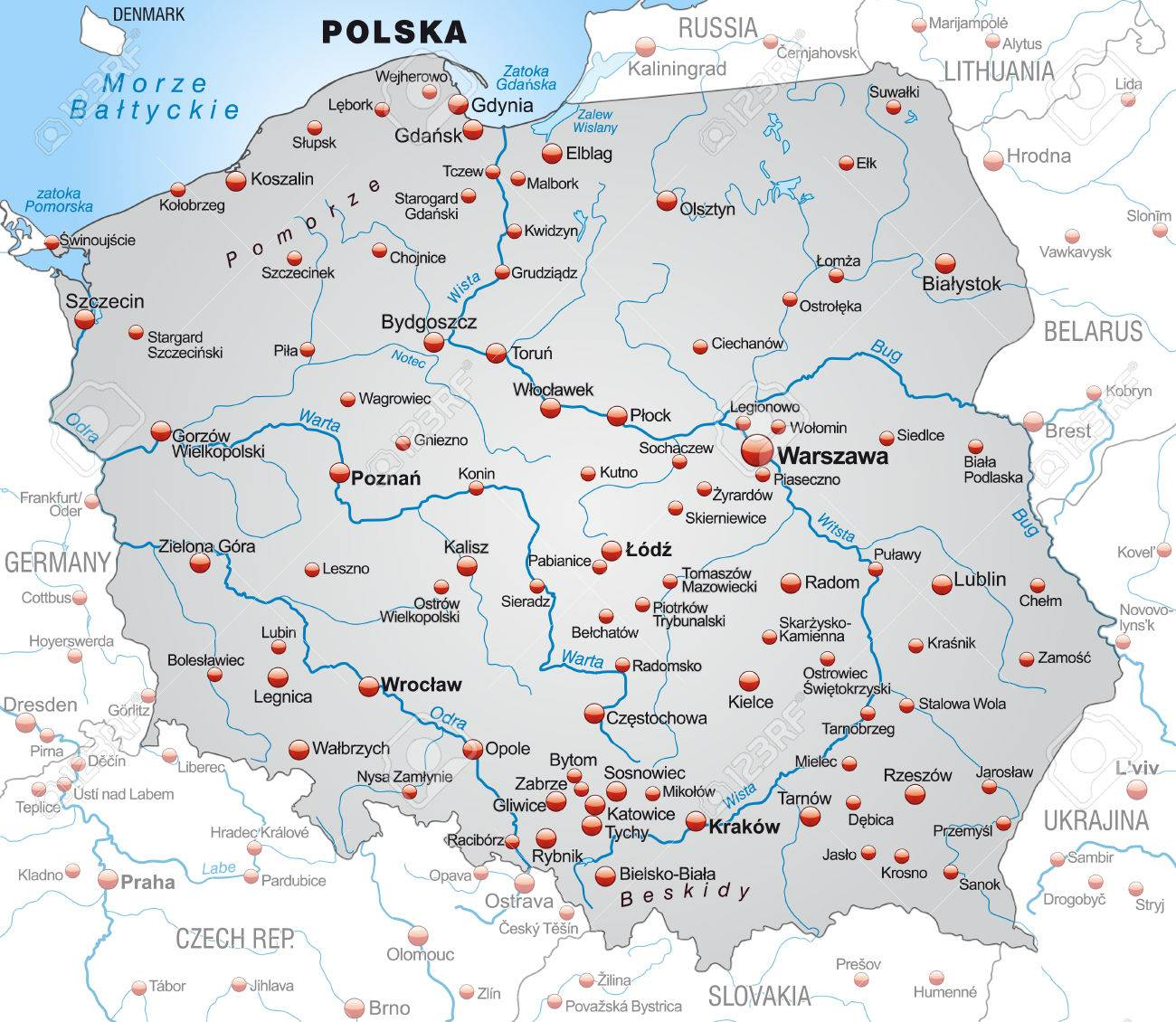 Lomza Poland Map.Map Of Poland As An Overview Map In Gray Royalty Free Cliparts
