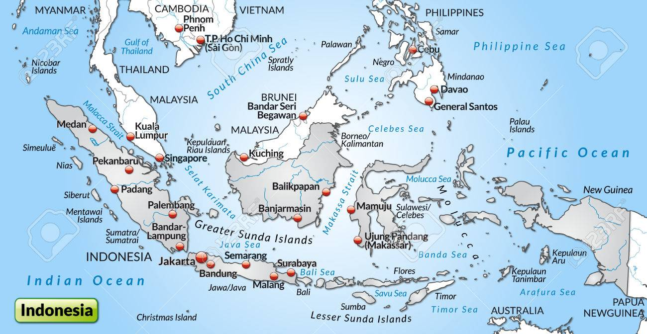 Map of indonesia as an overview map in gray royalty free cliparts map of indonesia as an overview map in gray stock vector 24979113 publicscrutiny Image collections