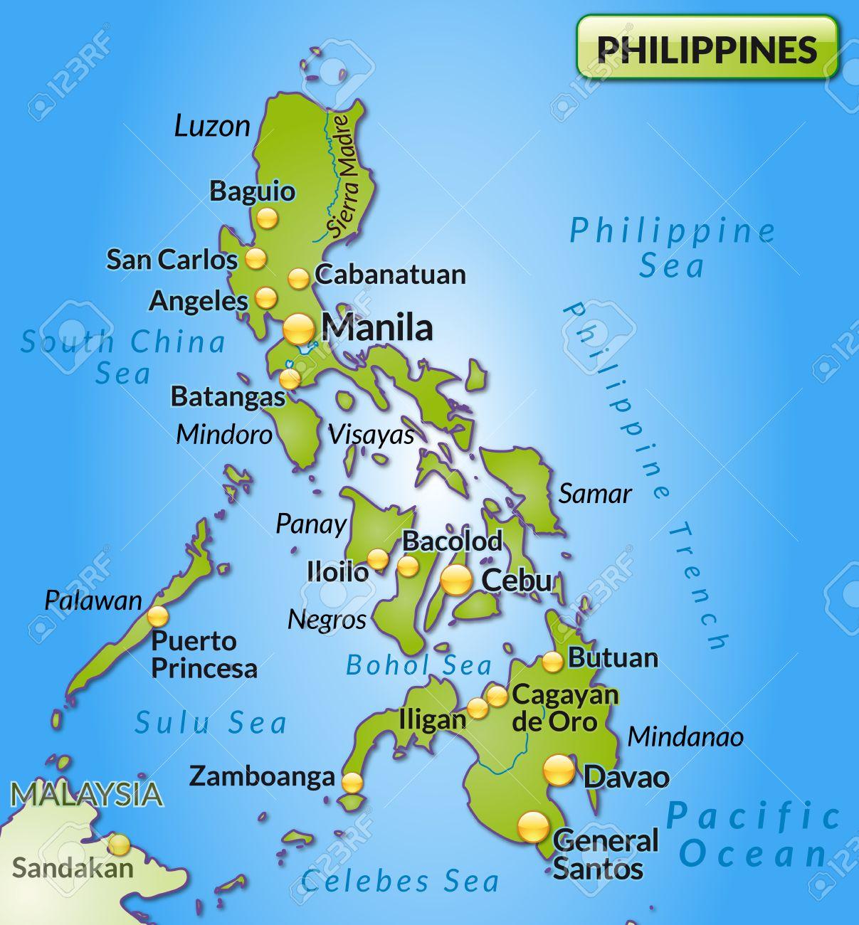Karte Philippinen.Stock Photo