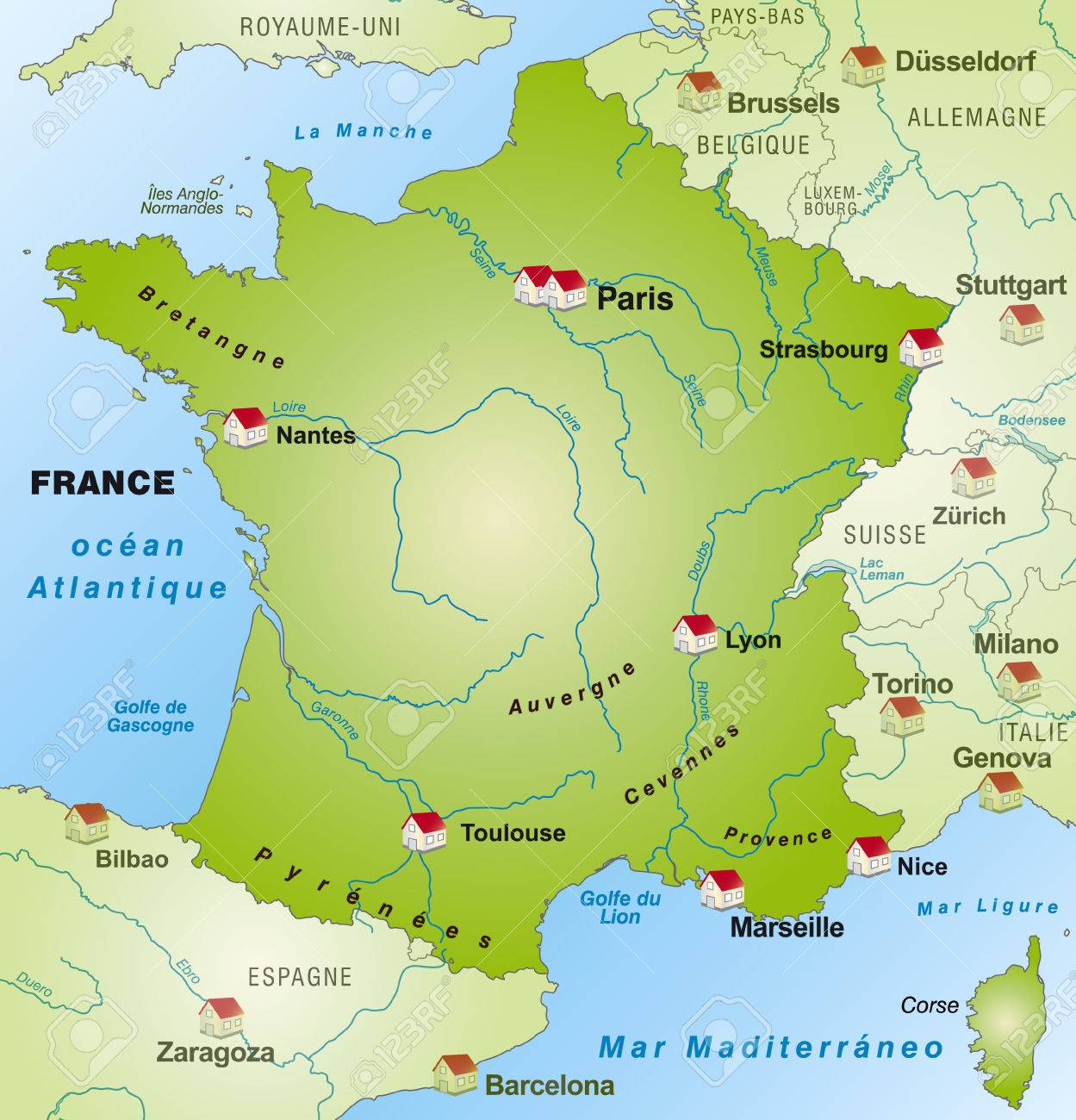 Map of France as an infographic in green Stock Vector - 24979263
