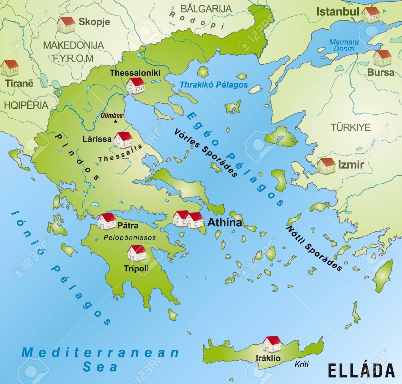Karte Griechenland.Stock Photo