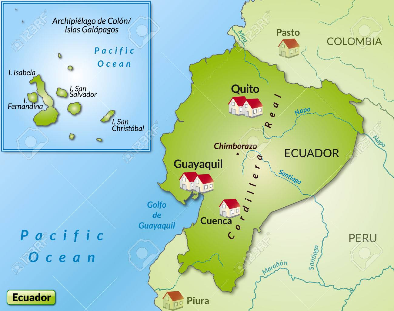Map Of Ecuador As An Infographic In Green Royalty Free Cliparts ...