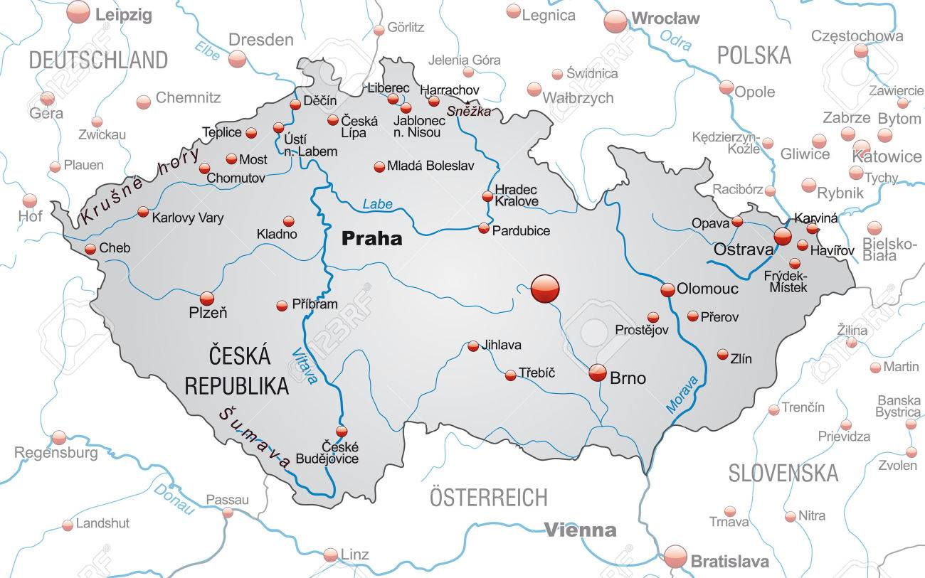 Map of Czech Republic as an overview map in gray - 24988765