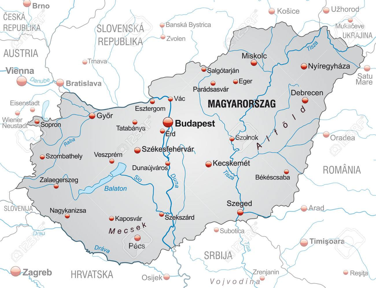 Map Of Hungary As An Overview Map In Gray Royalty Free Cliparts