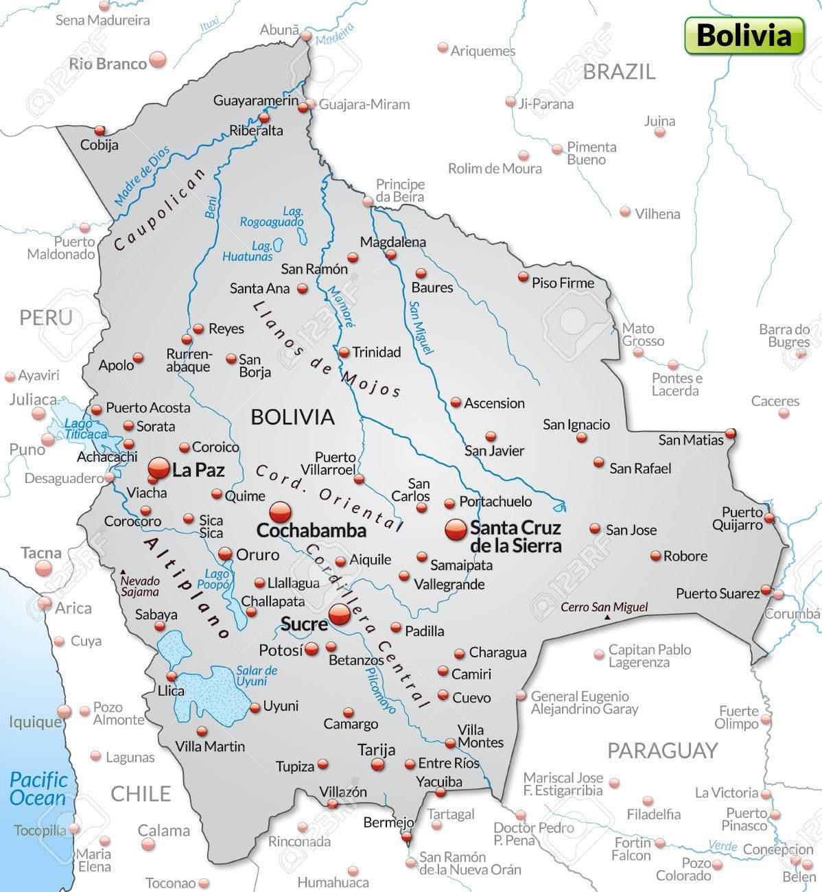 Karte Von Bolivien Als Ubersichtskarte In Grau Lizenzfrei Nutzbare