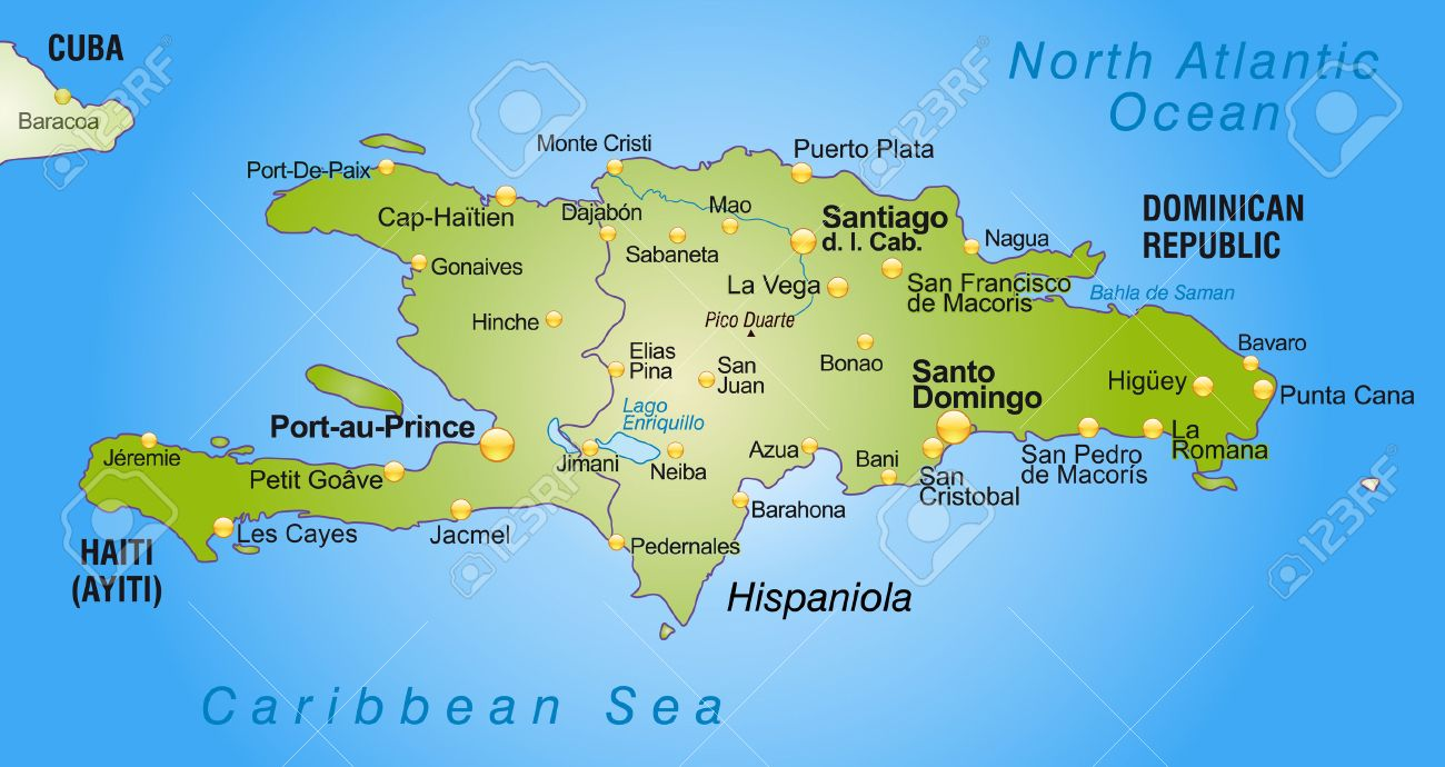 map of hispaniola as an overview map in green royalty free