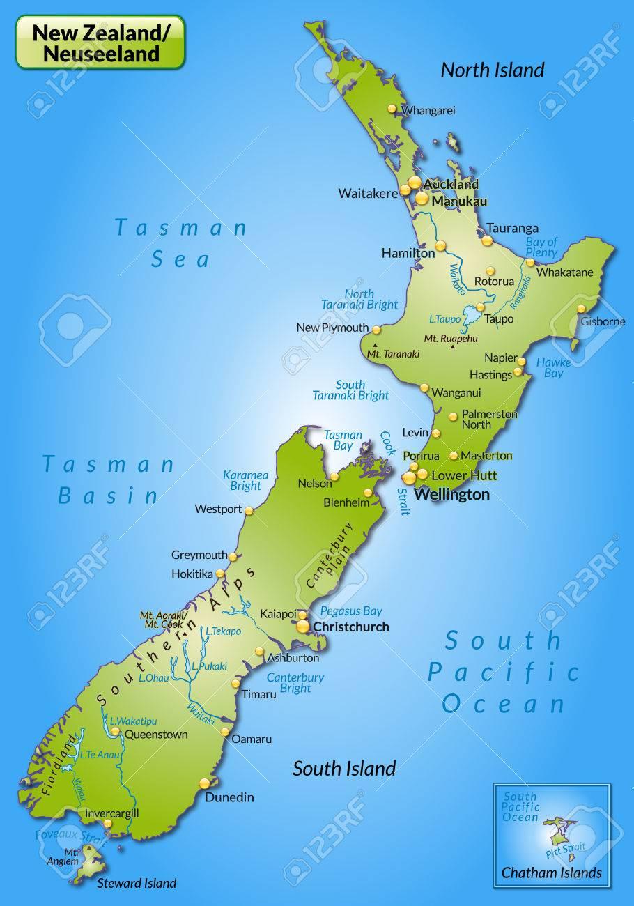 Karte Von Neuseeland Als Ubersichtskarte In Grun Lizenzfrei