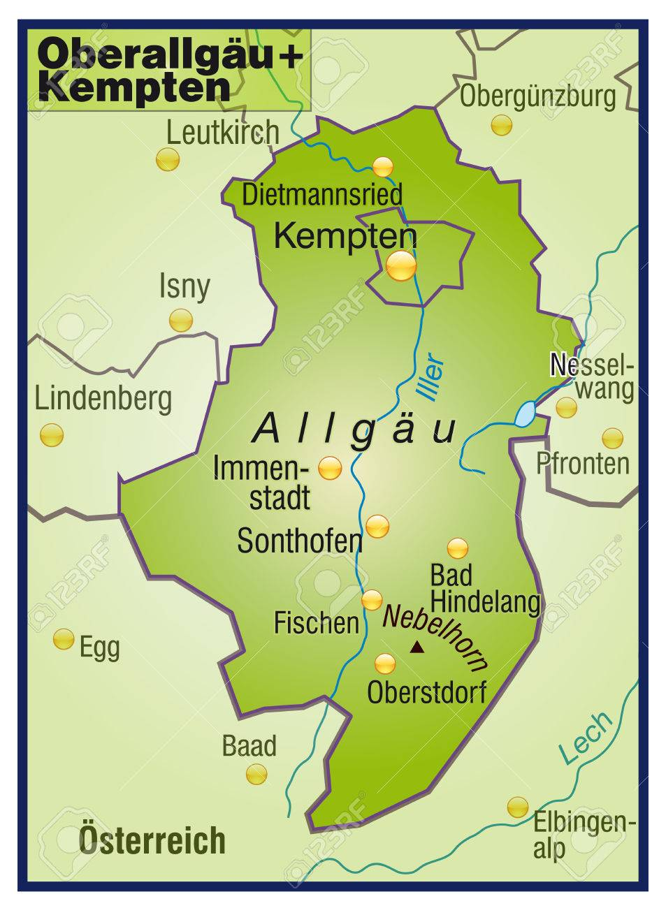 Map Of Oberallgaeu Kempten As An Overview Map In Green Royalty