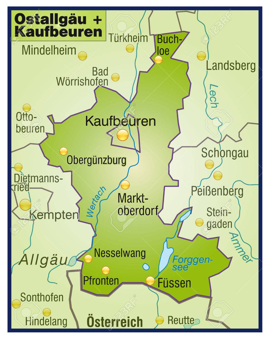 Map Of Ostallgaeu Kaufbeuren As An Overview Map In Green Royalty