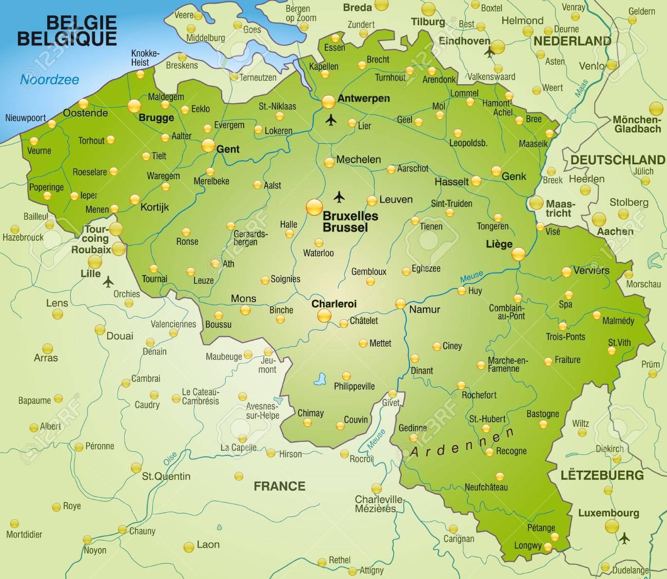 karte belgien Karte Von Belgien Als Übersichtskarte In Grün Lizenzfrei Nutzbare