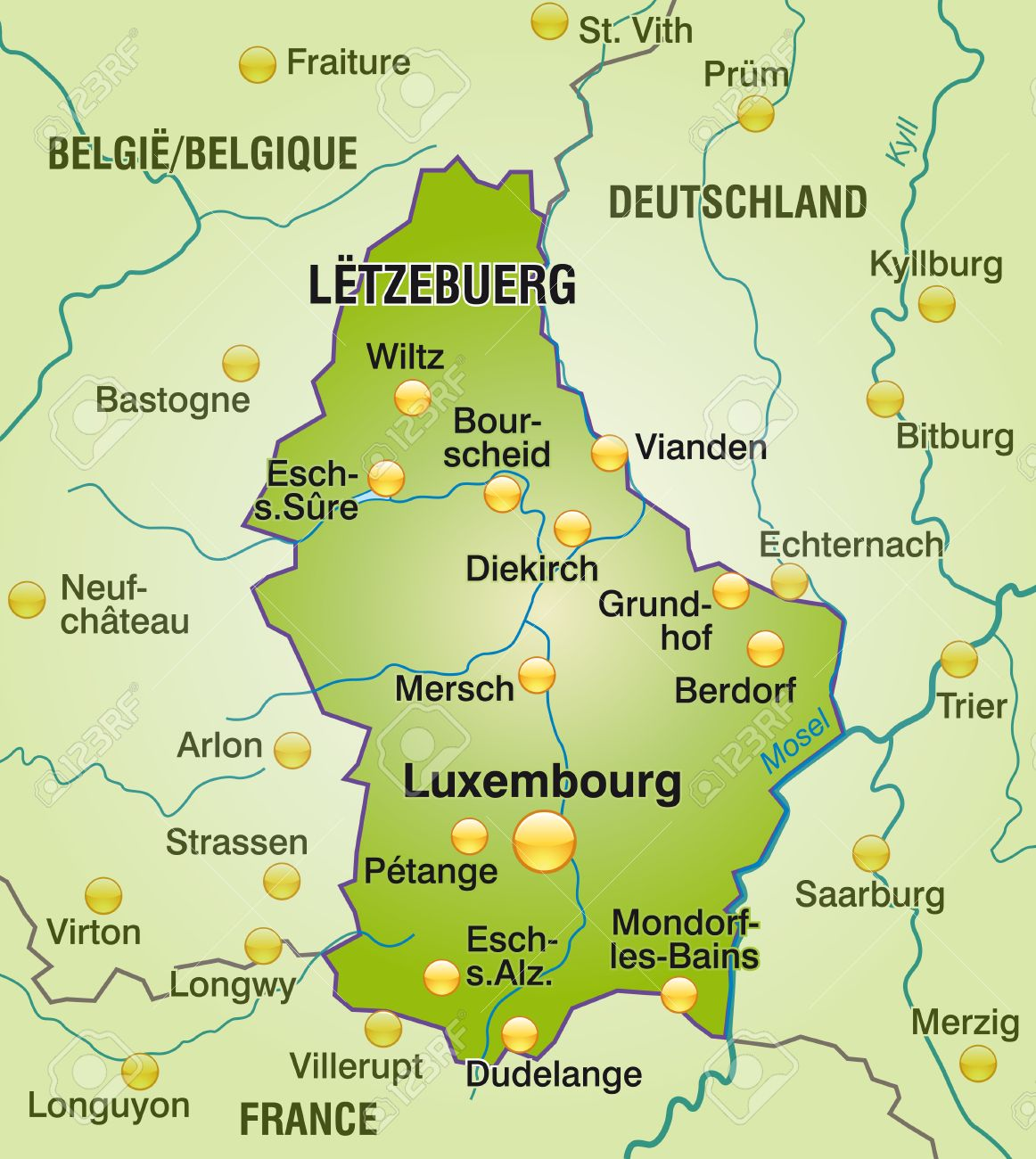 Map Of Luxembourg As An Overview Map In Green Royalty Free