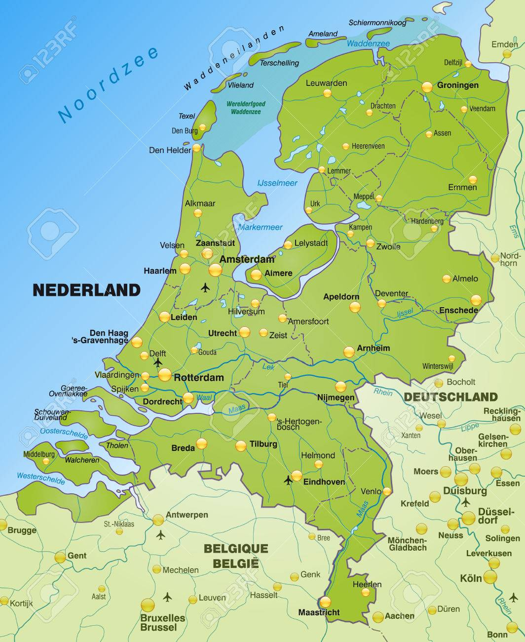 Map Of Netherlands As An Overview Map In Green Royalty Free Cliparts