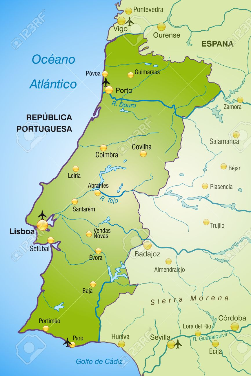 Map Of Portugal As An Overview Map In Green Royalty Free Cliparts - Portugal map coimbra