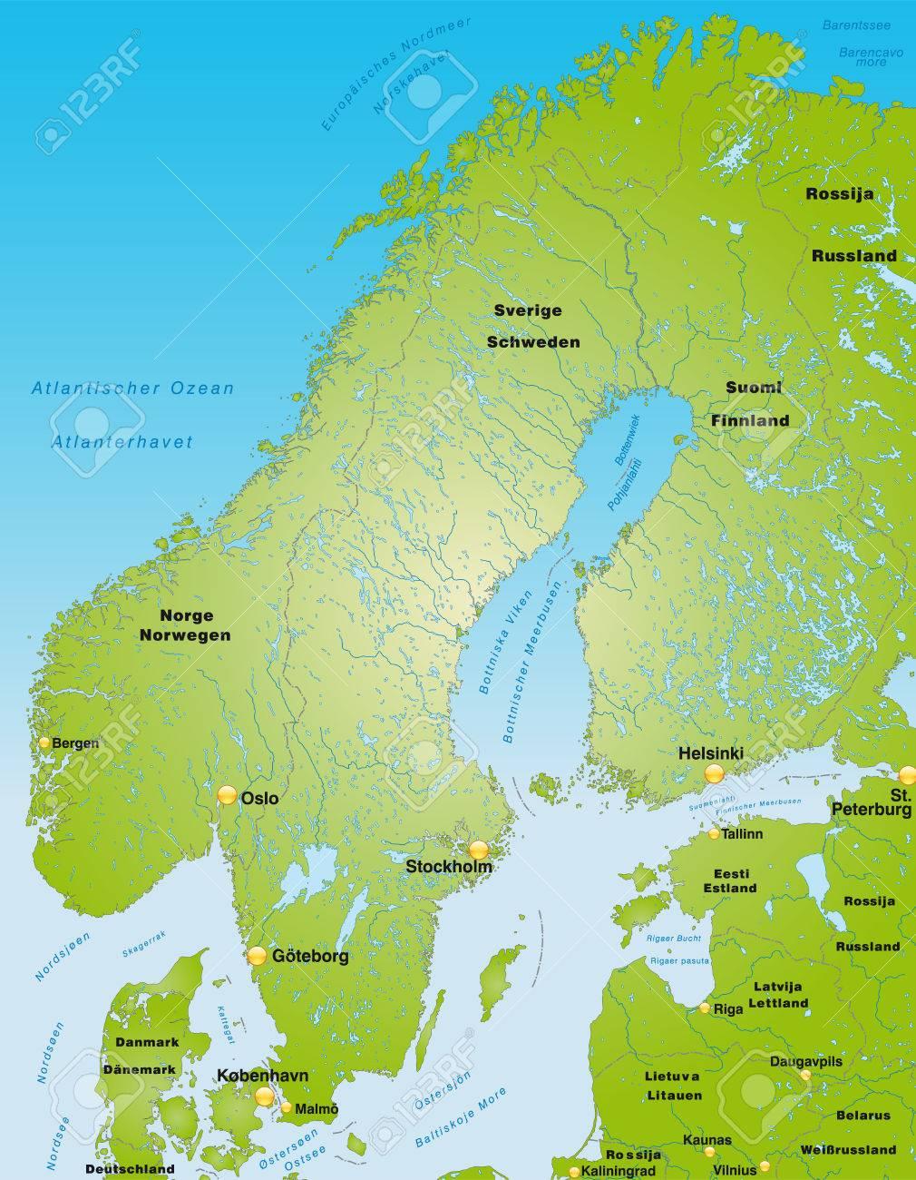 karte skandinavien Karte Von Skandinavien Als Einer Übersichtskarte In Grün
