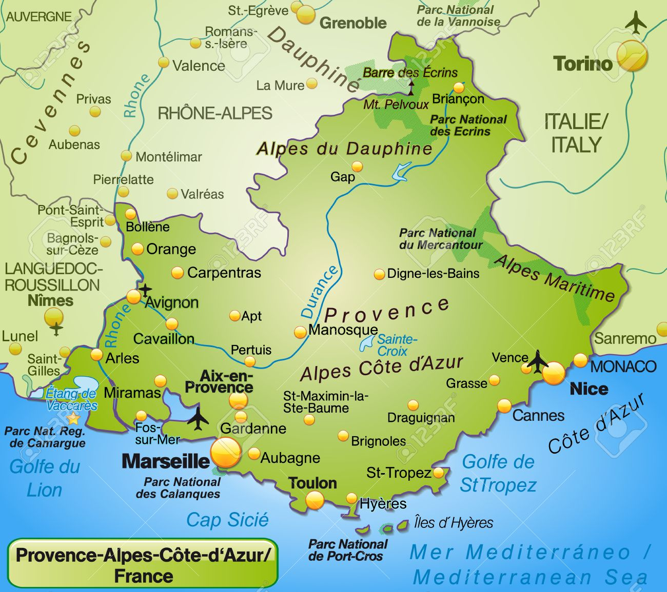 provence alpes côte d azur carte Map Of Provence Alpes Cote D Azur As An Overview Map In Green