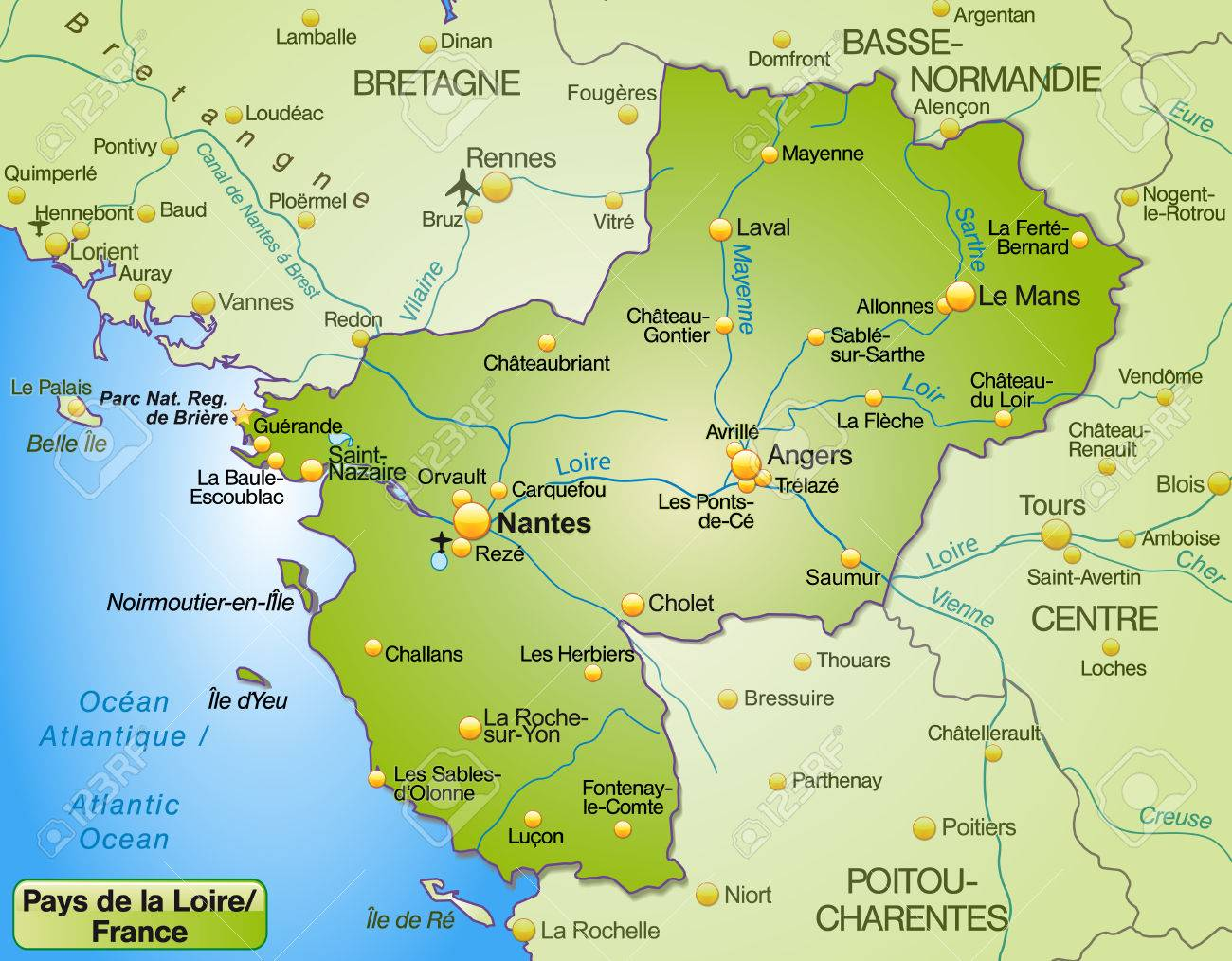 Map Of Pays De La Loire As An Overview Map In Green Royalty Free