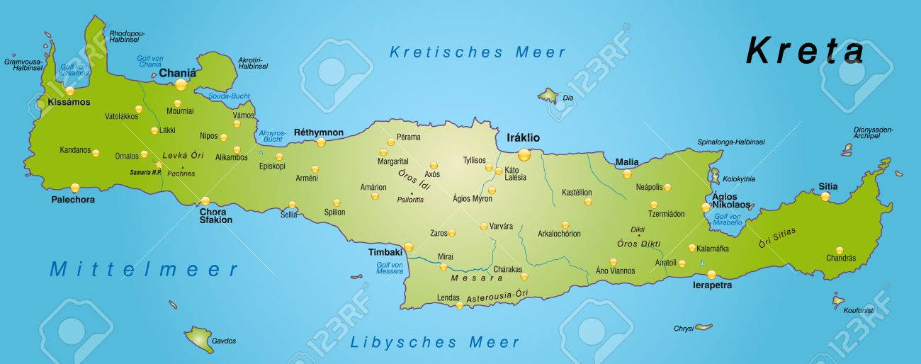 Carte Canee Crete.Map Of Crete As An Overview Map In Green Royalty Free Cliparts