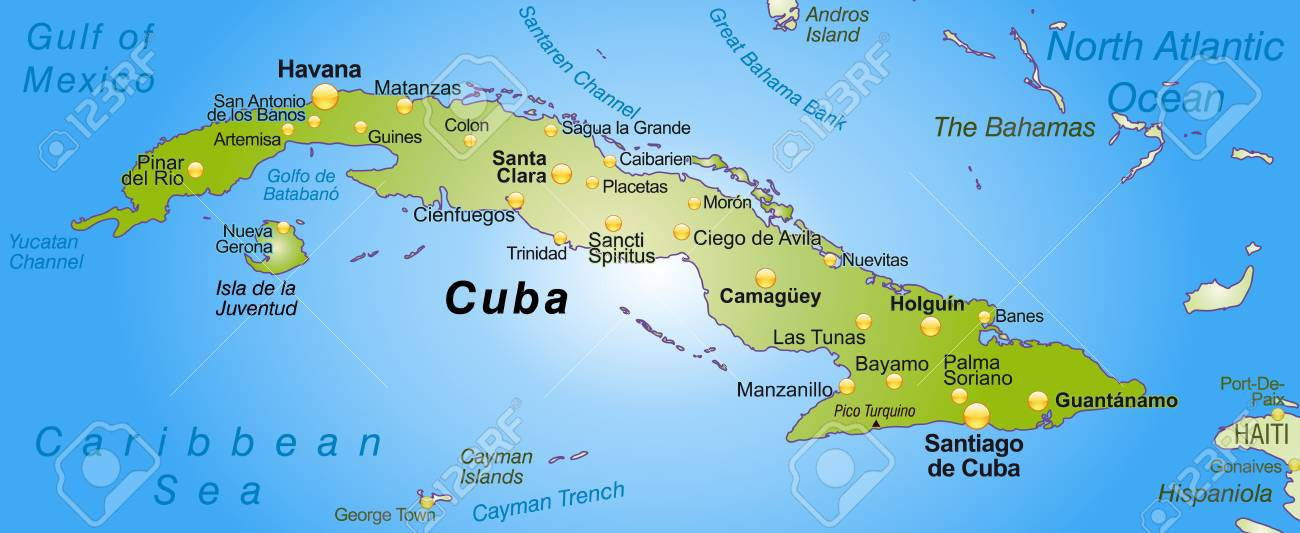 Map Of Cuba As An Overview Map In Green Royalty Free Cliparts