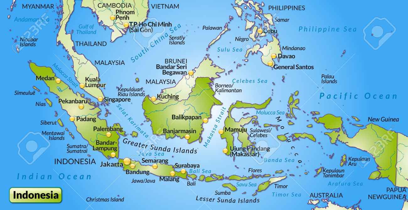 Map Of Indonesia As An Overview Map In Green Royalty Free Cliparts ...