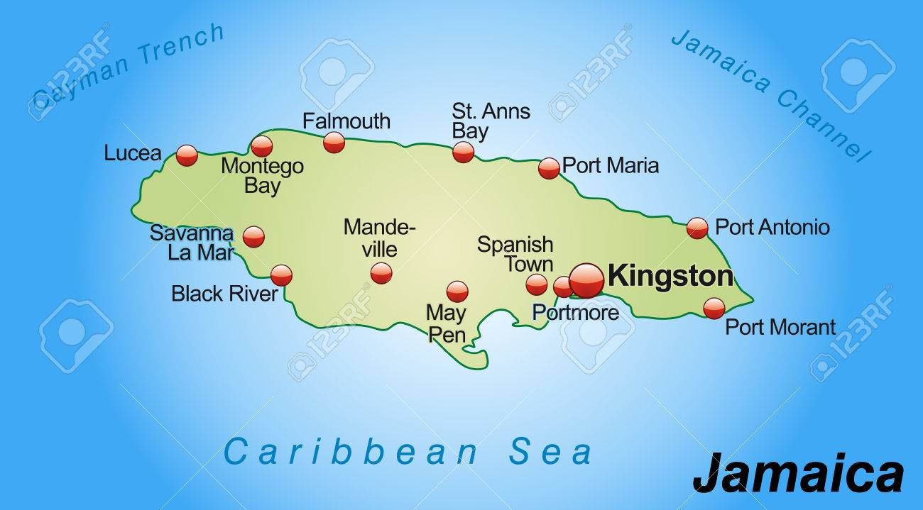 Map Of Jamaica As An Overview Map In Pastel Green Royalty Free
